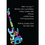 Rock On - Blue Birthday Party Invitation