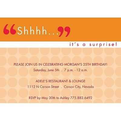 Shhh -- Pink Surprise Party Invitation