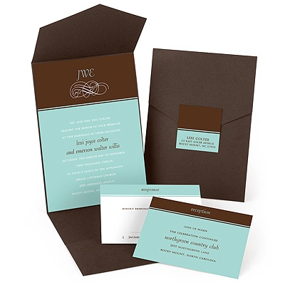 classic pocket fold wedding invitation