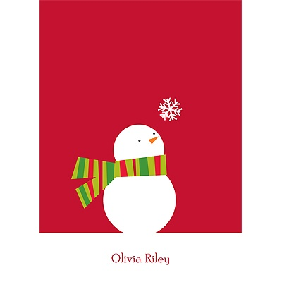 Snowman and Stripes Christmas Thank You Cards