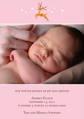 Baby Reindeer -- Pink Winter Birth Announcement