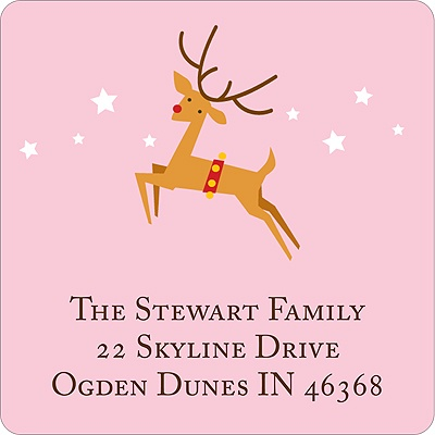 Baby Reindeer -- Pink Address Label
