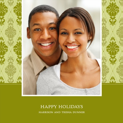 Diamond Damask In Green -- Holiday Photo Cards