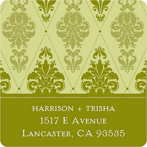 Diamond Damask In Green -- Christmas Address Labels