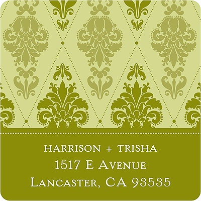 Diamond Damask -- Green Address Label