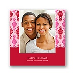 Diamond Damask in Pink -- Christmas Photo Cards