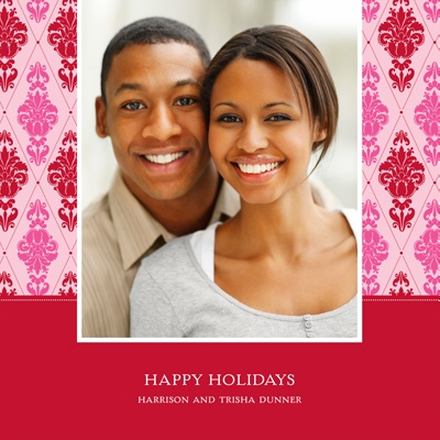 Diamond Damask In Pink -- Holiday Photo Cards