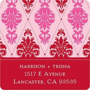 Diamond Damask In Pink -- Christmas Address Labels