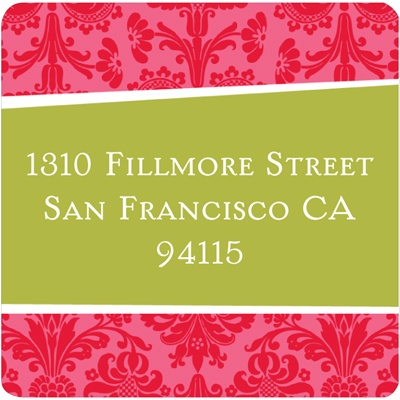 Angled Damask Border Address Label