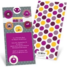 Monster Mash In Purple -- Kids Birthday Invitations
