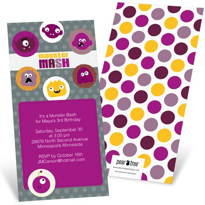 Monster Mash In Purple Kids Birthday Invitations
