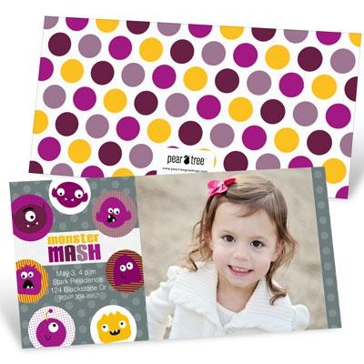Monster Mash Photo In Purple Kids Birthday Invitations