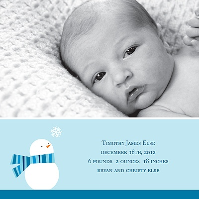 Cozy Birth -- Boy Winter Birth Announcement