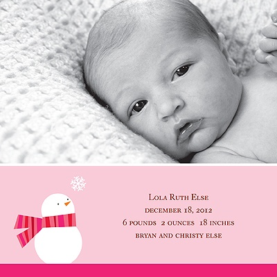 Cozy Birth -- Girl Winter Birth Announcement