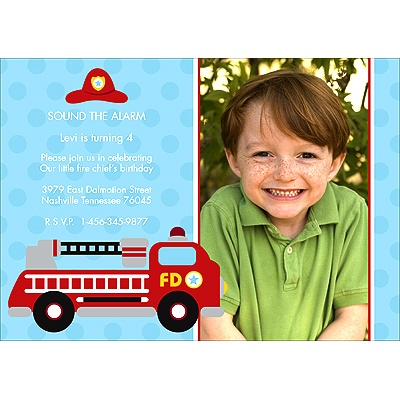 Fire Truck Fun -- Birthday Invitation