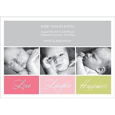 Love Squared -- Girl Photo Birth Announcement