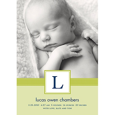 Tied with Love -- Green Photo Birth Announcement