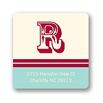 Simple Monogram -- Aqua Address Label