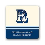 Simple Monogram -- Blue Address Label
