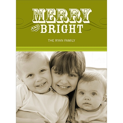 Simply Merry in Green -- Holiday Photo Cards