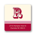 Simple Monogram -- Red Address Label