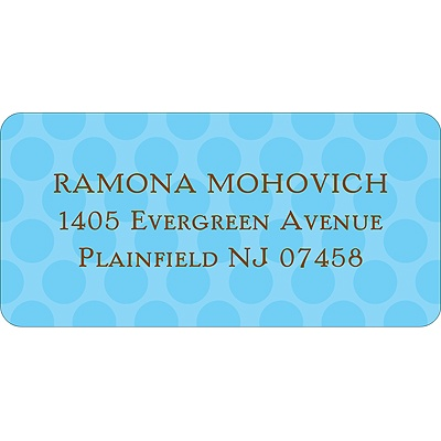 Modern Dots Blue Address Label