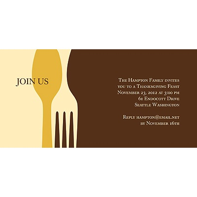 Dig In Brown Thanksgiving Invitation