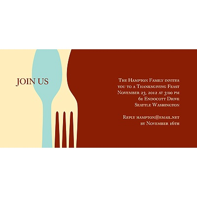 Dig In Red Thanksgiving Invitation