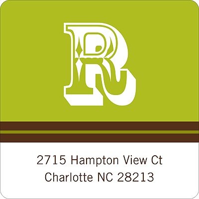 Simple Monogram -- Green Address Label