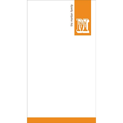 Simple Monogram -- Orange Personalized Note Card