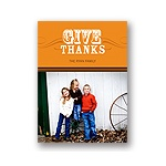 Simple Thanks -- Orange Photo Thanksgiving Card
