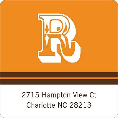 Simple Monogram -- Orange Address Label