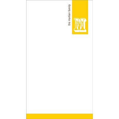 Simple Monogram -- Yellow Personalized Note Card