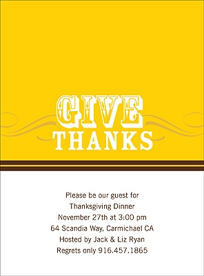 Simple Thanks -- Yellow Thanksgiving Invitation