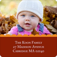 Scalloped Red Photo Address Label
