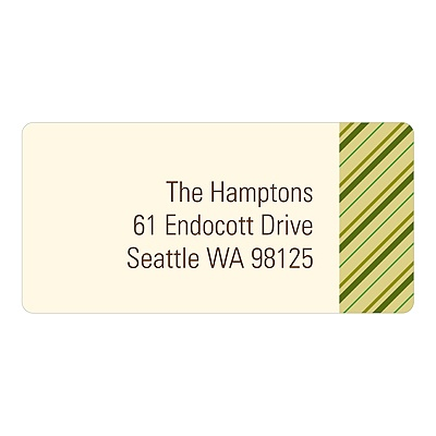 Thin Stripes In Green-- Christmas Address Labels