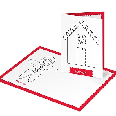 Gingerbread House Coloring Card Christmas Thank You Cards