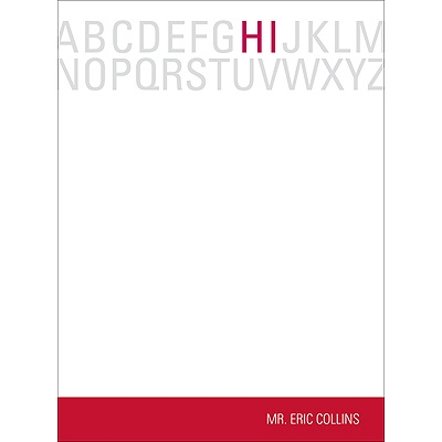 Alphabet Hello in Red Teacher Stationery