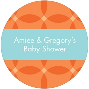Togetherness Orange Stickers -- Baby Shower Favor Tags