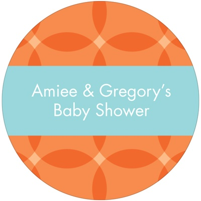 Circle Overlays in Orange -- Baby Shower Favor Stickers
