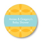 Circle Overlays in Yellow -- Baby Shower Favor Stickers