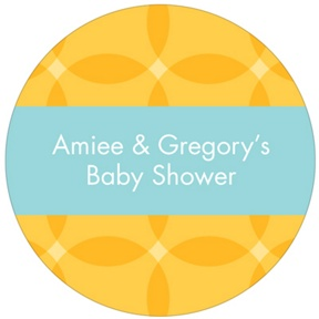 Togetherness Yellow Stickers -- Baby Shower Favor Tags