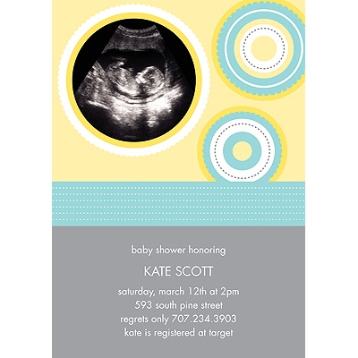 Scalloped Circles Baby Shower Invitations