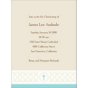 Circle Of Faith in Blue -- Baptism Invitations