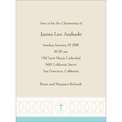 Circle Of Faith in Blue Baptism Invitations