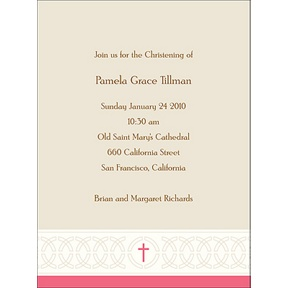 Circle Of Faith in Pink -- Baptism Invitations