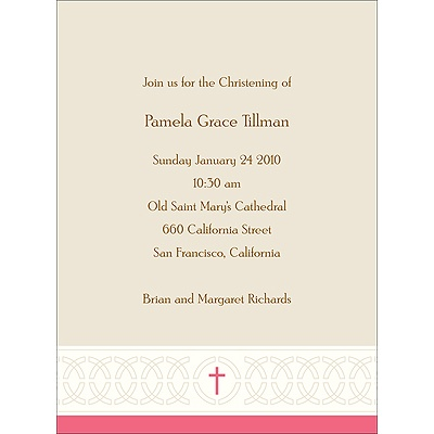 Circle Of Faith in Pink Baptism Invitations