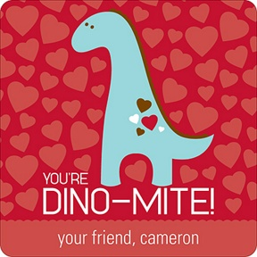Dino-Mite -- Valentine's Day Personalized Stickers