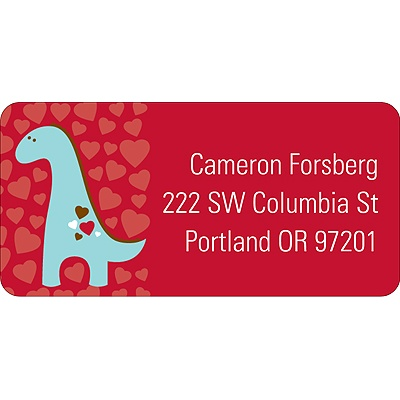 Dino-Mite Valentine's Day Address Label