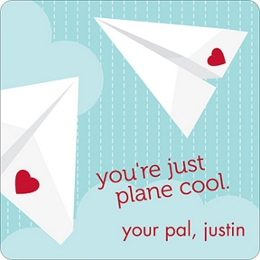 Plane Cool -- Valentine's Day Personalized Stickers